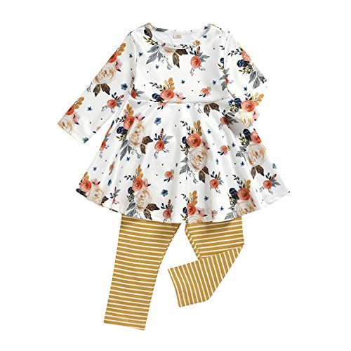 Toddler Baby-Girls-Fall-Winter-Floral-Clothes-Set Little Girls Long Sleeve Princess Outfit Boutique Clothing (Yellow Floral, 2T)