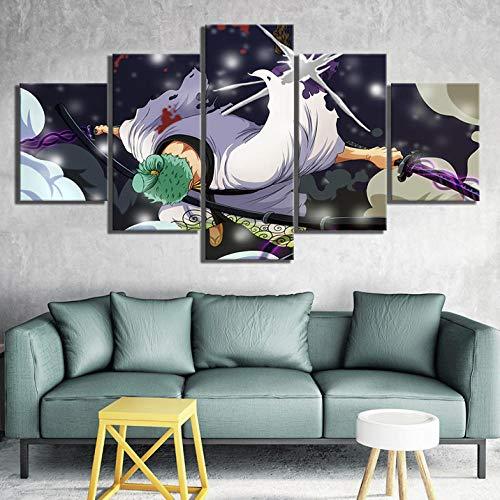 37Tdfc 5 Leinwandbilder 5 Teiliges Stroh Hut Zoro Anime Leinwandbild wandbilder Wohnzimmer modern wandbilder Schlafzimmer wanddekoration wohnungs deko wandbild XXL leinwand 150x80 cm