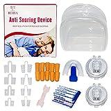 RDBA Dispositivos Anti Ronquidos Kit 5 En 1,8pcs Dilatadores nasales, Respiraderos Nasales 2 clip magnético,10Tapones Oídos Dormir y Férula de dientes, 20Tiras nasales