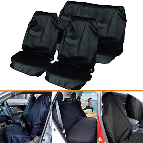 Mioke Coprisedili per Auto Impermeabile Universali Copertura Protezione per Sedili Auto Veicolo Antiscivolo e Asciugamano per sedili Posteriori Anteriori