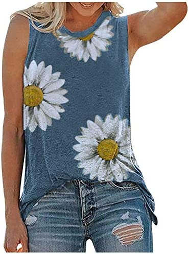 KYLEON Women Tank Tops Womens Sunflower Cute Printed Vest Tshirt Sleeveless Workout Blouse Casual product image