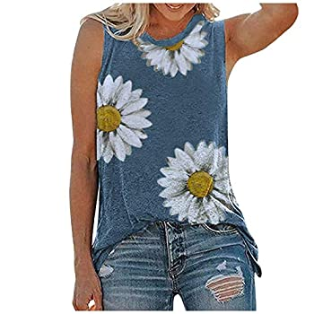Gerichy 4th of July Tank Tops for Women Womens Summer Tops Casual Loose Fit Plus Size Sunflower Printed Tee Shirts