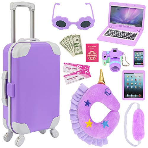 K.T. Fancy 16 pcs American 18 Doll Accessories Suitcase Travel Luggage Play Set for 18 Inch Doll Travel Carrier, Sunglasses Camera Computer Phone Pad Travel Pillow Blindfold Passport Tickets Cashes