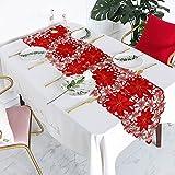 Camino de mesa bordado de Navidad, camino de mesa con flores, tapete para mesa para decoración navideña, decoración del hogar, vacaciones, bodas, suministros para fiestas (176x38cm)