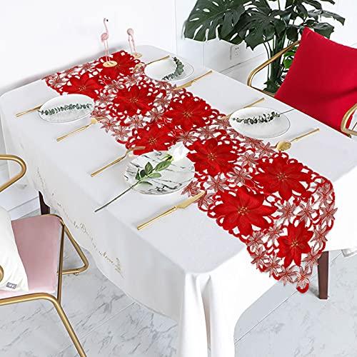Camino de mesa bordado de Navidad, camino de mesa con flores, tapete para...