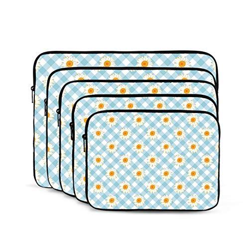 KUUDJIT Chamomile Daisies On Blue (2) 12/13/15/17 Inch Laptop Sleeve Bag for MacBook Air 13 15 MacBook Pro Portable Zipper Laptop Bag Tablet Bag,Diving Fabric,Waterproof