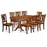 EAST WEST FURNITURE PLAI9-SBR-W 9 PC Dining room set for 8-Dining Table and 8...