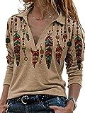 Women's Western Ethnic Style Retro Western Feather Print Casual Lapel Long Sleeve Shirt for Women (Khaki, L)