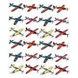 Kicko Foam Airplane Glider - 24 Pieces Colorful Flying Plane - Perfect for Indoor, Outdoor and Open-Air Activities, Game on Summer Vacation, Field Trip, Play Parks, Stocking Stuffers and Fillers