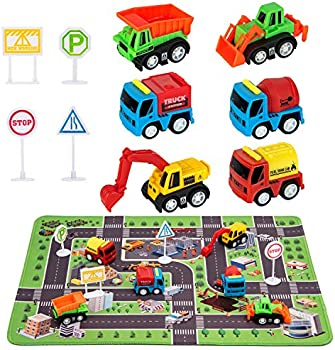 Construction Trucks Toys Play Set with Playmat
