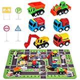 Construction Toys for 2 3 4 5 6 Year Old Boys, 6 Construction Trucks, 4 Road Signs, 14' x 18'...