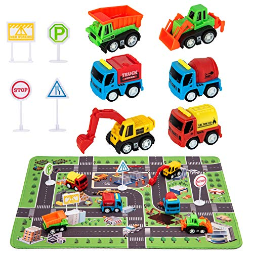 "Construction Toys for 2 3 4 5 6 Year Old Boys, 6 Construction Trucks, 4 Road Signs, 14"" x 18"" Construction Site Playmat, Perfect Car Toys Gifts for Kid Toddler Boy Toys"