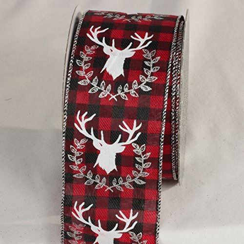 The Ribbon People Ruby Red, Ebony Black and Silver Stag Plaid Wired Craft Ribbon 2.5' x 20 Yards