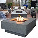 36'' Outdoor Concrete Propane Gas Fire Pit Table, 45,000 BTU Electronic Ignition Square Faux Stone Outdoor Fireplace Adjustable Flame 2-in-1 Firepit Table for Courtyard Patio Balcony