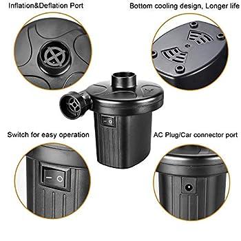 ZStarlite - Pompe à air électrique portable pour matelas gonflable, pour piscines, bateaux, jouets gonflables, camping, avec 3 accessoires, 240VCA/12VCC
