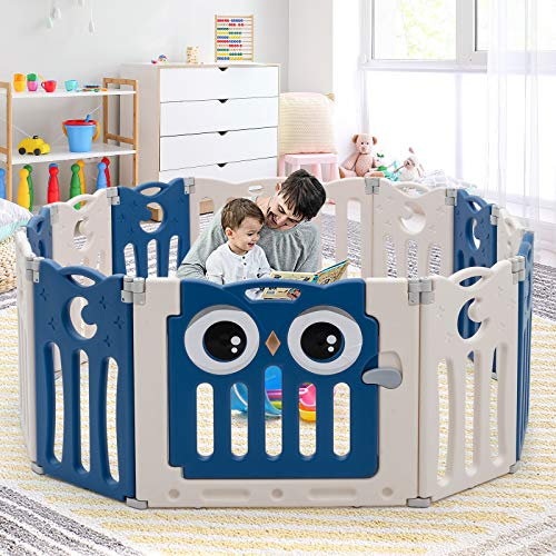 GYMAX Baby Playpen, 12 Panel Foldable Safety Playard with Lockable Door, Toddler Activity Center Fence for Indoor & Outdoor (Navy Blue)