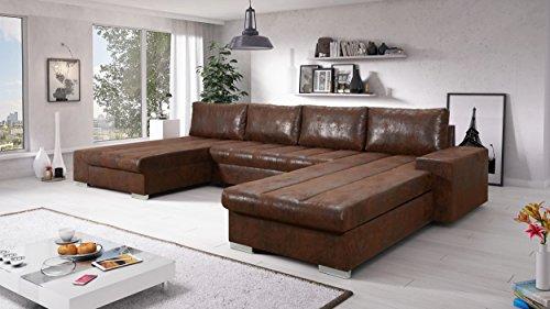 Sofa Couchgarnitur Couch Sofagarnitur Verona U Polstergarnitur Polsterecke Wohnlandschaft mit Schlaffunktion (Soft 11/Nevada 2 Links)