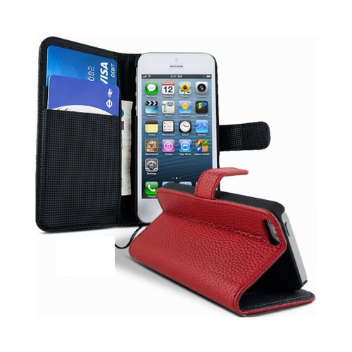 Lapinette Funda de Piel Compatible con Apple iPhone 5C - Carcasa con Tapa Libro Tipo Folio - Funda de Piel Sintética Apple iPhone 5C Tapa y Cartera - Cierre Magnético Rojo