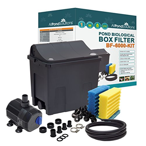 Small Fish Pond Filter Box - Koi/Goldfish - Ponds up to 6000L Full Kit - 9w UV 2300L/H Pump hosing and clips.