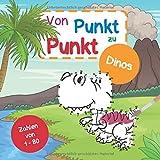 Von Punkt zu Punkt Dinos: Mit Zahlen von 1-80   tolle Dino-Motive mit Punkten zum Verbinden   mit Beschriftung der jeweiligen Dino-Namen und deutscher Bedeutung