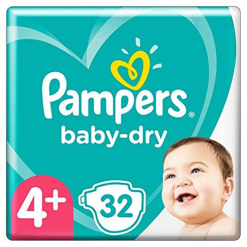 Pampers Baby-Dry Größe 4+, 32 Windeln, bis zu 12Stunden Rundumschutz, 10-15kg