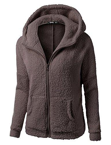 Minetom Frauen Damen Montana Mikro Fleece Jacke Kapuze Pullover Kuschelig Warm Zipper Hoodie Outwear Oberteile Kaffee DE 42