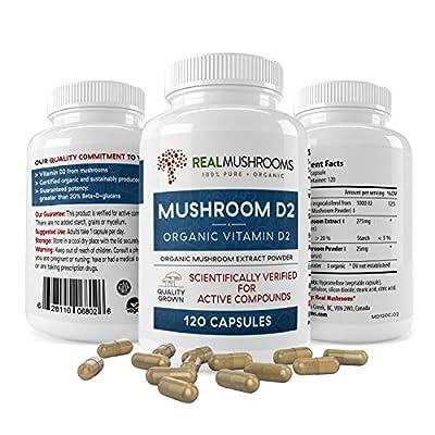 Organic Mushroom Vitamin D2 Supplements (120 caps), Vitamin D Vegan Supplement, Organic Vitamin D 1000 IU Vegan Supplement, Adult Vitamins Supplements, D2 Mushroom Supplement Softgels, Vegan Vitamins