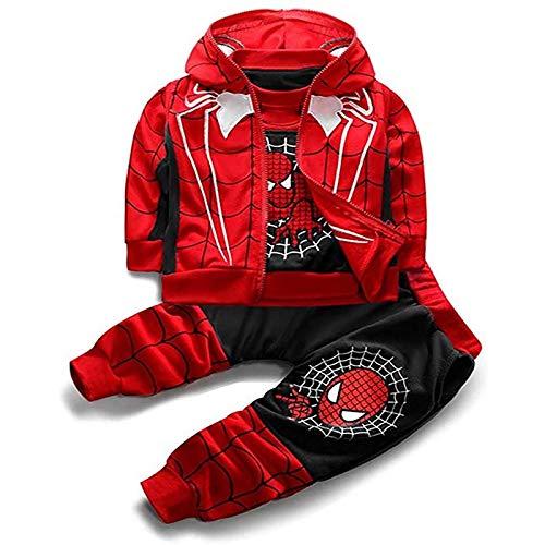 DTZW 3-teiliges Kleinkind Little Kids Baby Boys Outfits Set Langarm Pullover Sweatshirt Weste Hoodie Hose Kleidung Anzug Cosplay(Color:Schwarz,Size:120cm)