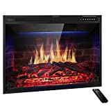 JAMFLY 33'' Electric Fireplace Insert Narrow Border Design Freestanding Heater with Multicolor Flames, Touch Screen, Timer, and Remote Control, 1500w, Black