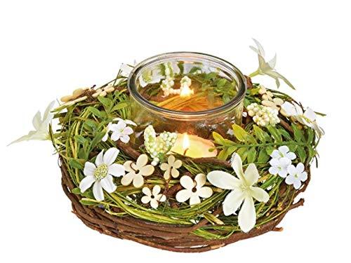 meindekoartikel Windlicht Glas im Kranz aus Rattan mit künstlichen Blumendekor (braun weiß grün) Ø 22cm x Höhe 12cm – Dekokranz Teelichthalter Kerzenhalter
