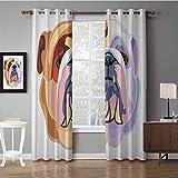 Cortinas de oscurecimiento de la habitación para el dormitorio Bulldog inglés Estilo de dibujos animados bicolor Retrato de bulldog Diseño animal abstracto Marrón Muave pálido Estampado rosa para cort