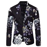 Harpily Slim Traje para Hombre, Blazer Elegante con Estampado Floral Fiesta de Bodas de Negocios Outwear Abrigo Traje (2XL, Negro)