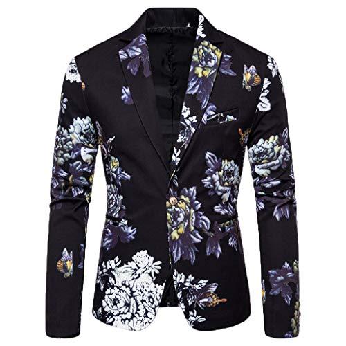 Harpily Slim Traje para Hombre, Blazer Elegante con Estampado Floral Fiesta de Bodas de Negocios Outwear Abrigo Traje