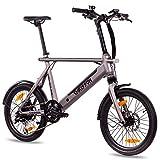 CHRISSON 20 Zoll E-Bike City Bike ERTOS 20 grau matt - Elektrofahrrad mit Bafang Hinterrad -...