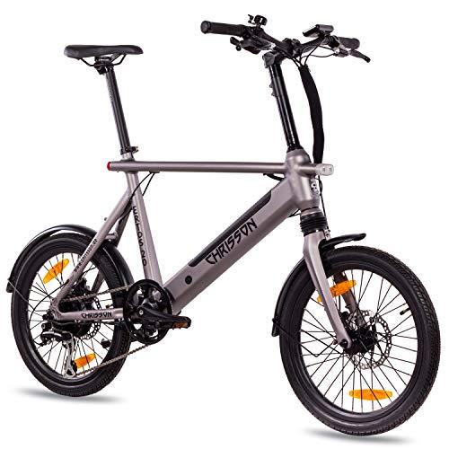 CHRISSON 20 inch E-Bike City Bike ERTOS 20 inch grijs mat - elektrische fiets met Bafang achterwiel - naafmotor 250W, 36V, 30 Nm, pedelec voor dames en heren, praktische E-City Bike