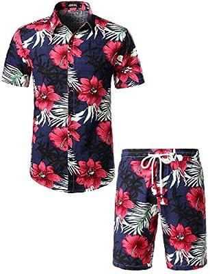 JOGAL Men's Flower Casual Button Down Short Sleeve Hawaiian Shirt Suits XX-Large Navy