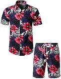 JOGAL Men's Flower Casual Button Down Short Sleeve Hawaiian Shirt...