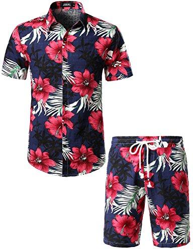 JOGAL Men's Flower Casual Button Down Short Sleeve Hawaiian Shirt Suits X-Large Navy
