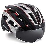 EASTINEAR Casco MTB Leggero Casco Bici per Adulti con Visiera Magnetica Fanale Posteriore LED di Sicurezza per Protezione 57-61CM (Argento Nero)