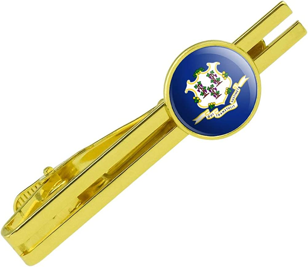 GRAPHICS & MORE Connecticut State Flag Round Tie Bar Clip Clasp Tack Gold Color Plated
