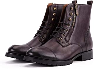 TONGDAUAE Men's High-top Leather Boots Handmade British Fashion Casual Top Layer Cowhide Leather Boots (Color : Purple, Size : 40-EU)