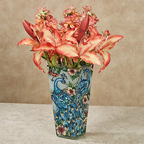 Amia 10-Inch Tall Hand-Painted Glass Vase Featuring a Peacock Design