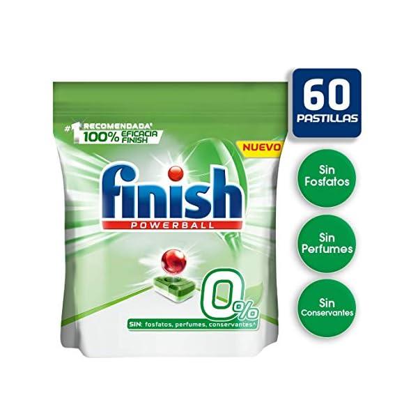 Finish Powerball 0% – Pastillas para el lavavajillas todo en 1 – formato 60 unidades