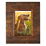 Eosglac Wooden Picture Frame 5x7 inch, Wood Plank Design with Rustic Brown Finish, Wall Mounting or Tabletop Display, Handcrafted Photo Frame