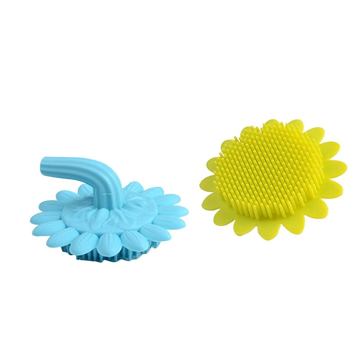 暗殺する変換同化Beaupretty 2本の赤ちゃん風呂ブラシシリコーンボディブラシ頭皮マッサージブラシ赤ちゃんのためのシャンプーブラシ(グリーン+ブルー)