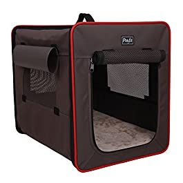 Petsfit Light Fabric Portable Strong Pet Crate, Foldable Pet Carrier, Soft Kennel with Fleece Mat