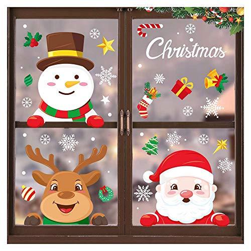 Wondsea Pegatinas de ventana de Navidad, 18 hojas de Papá Noel y...