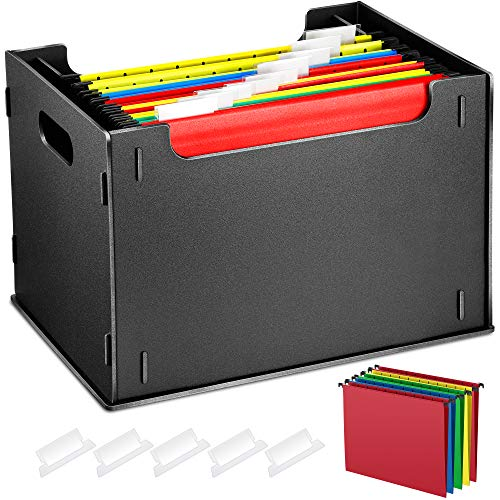 Portable Desktop Assembled Hanging File Folder Organizer,Side Handles, File Storage Organizer with 5 Pack Hanging Letter,Tabs & Inserts, Letter Size for Business/Office/Study/Home