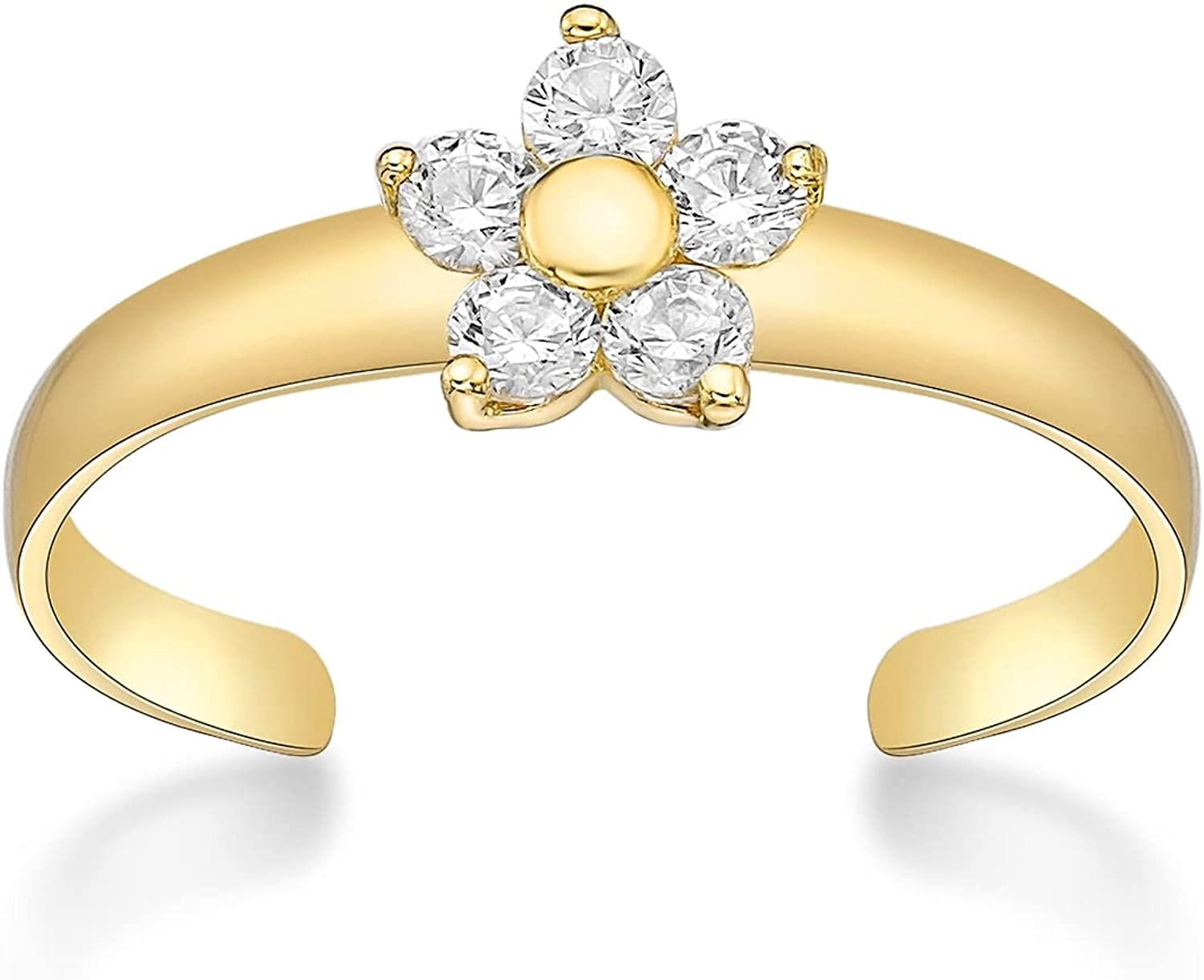 Cubic Zirconia Adjustable Flower Toe Ring in 10k Yellow Gold 6 MM Wide by Lavari Jewelers