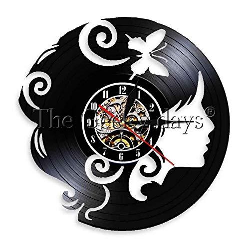 XZXMINGY Beauty Girl Vintage Vinyl LP Record Reloj de Pared Lady Face Arte de Pared Moderno para Novia Idea de Regalo de cumpleaños 12 Pulgadas de Navidad